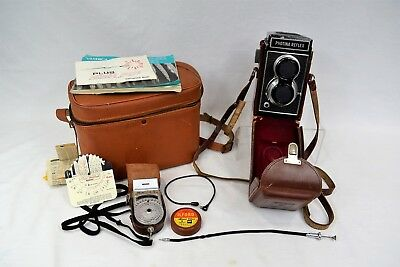 Vintage Photina Reflex Twin Lens Camera Prinzlite Photo Electric Meter Bundle