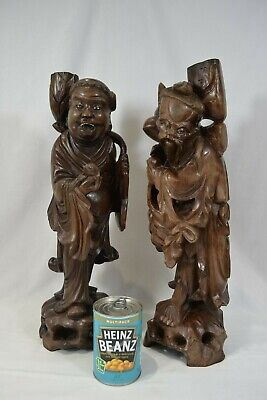 Pair of Large Antique Chinese Wooden Carvings Figures Immortal 1½ ft Tall Statue
