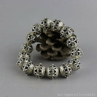 Collect ChinaOld Tibet Silver Hand Carved Flower Delicate Hollow Out Bracelet