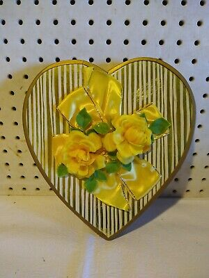 Vintage Yellow Foil Valentine's Day Heart Candy Box Yellow Roses Brach's