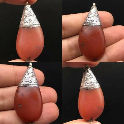 Adorable Rare Ancient agate stone Lovely antique Silver Pendant #A163