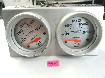Auto Meter Dual Ultra-Lite Oil Temp Gauges in Mounting Panel