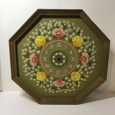 """Floral Clock Face Finished and Framed Crewel Hexagon 14.5"""" Missing Clock Works"""