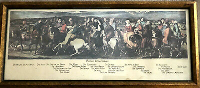 "Antique PILGRIMS TO CANTERBURY Mid-Victorian Thomas STOTHARD Framed Print 9""x21"""