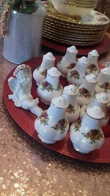 royal albert old country roses salt & pepper pot made in England stamp