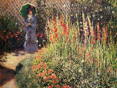 Claude Monet Paintings Gladioli Print On Canvas Framed Reproduction Art