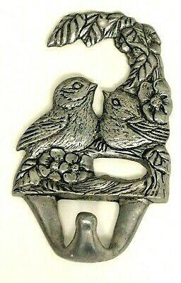 "VINTAGE Metal Love Birds Clothing Coat Towel Hat Hanger Hook 5"" Organizer Nest"