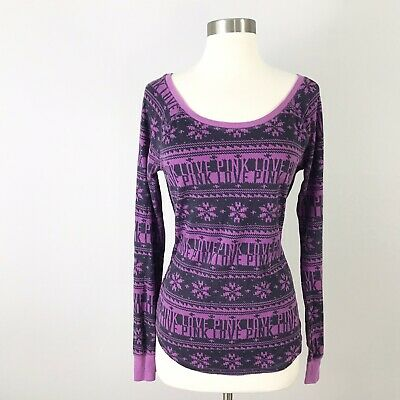 Victorias Secret PINK medium Thermal Top Fair Isle Nordic Snowflakes Purple Gray