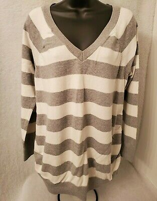Old Navy Maternity Womens White Gray Striped Sweater Top Size XL