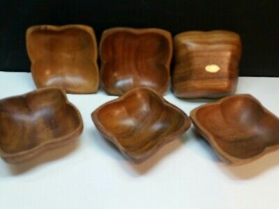 Genuine Wooden Hand Crafted Monkey Pod Set 6 Salad Bowls Made Phillipines