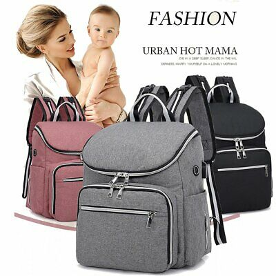 Waterproof Large Mummy Baby Nappy Diaper Bag Travel Changing Nursing Backpack US