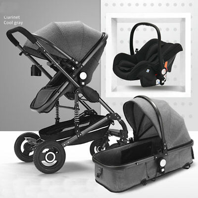 3 in 1 Bassinet&Car Seat Foldable Baby Stroller High View Pushchairs Black New