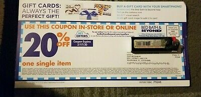 1x Bed Bath And Beyond 20% off single Item instore or online Exp 3/17/2020