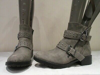GIRLS NEXT GREY SYNTHETIC BUCKLE ZIP UP ANKLE BOOTS UK 4 eu 37 (B)