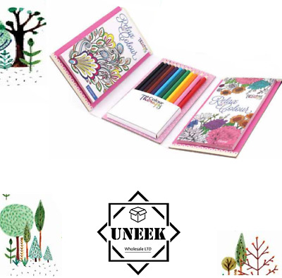 COLOURING Book Pencils TRAVEL SET Relaxing Journey Activity Kids Adults TA6844UK