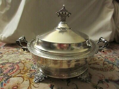 Gorgeous Antique Wilcox Silverplate Co. Footed Serving Bowl w/ Cover