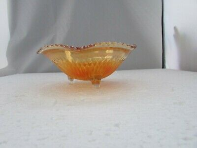 Marigold Carnival Glass 3 Footed Iridescent Candy Dish w/ Unique Rim - GORGEOUS