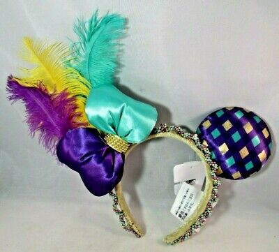 Disney Parks Minnie Mouse Ears Mardi Gras Headband Purple Teal Feathers