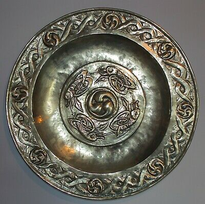 Glasgow School Arts And Crafts Large Brass Charger By Margaret Gilmour