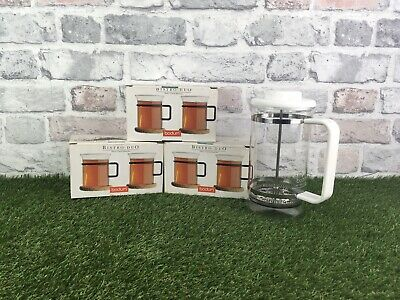 BODUM Vintage White French Coffee Tea Cafetiere Press With 6 Matching Cups