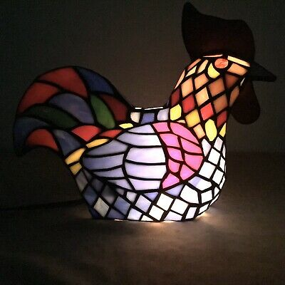 "Collectibles Large Hanging Rise /& Shine Colorful Gem Rooster Stained Glass 19/""H"
