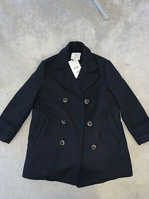 Boys BNWT Navy Zara Trench Wool Button Coat RRP £50 Age 9 Years