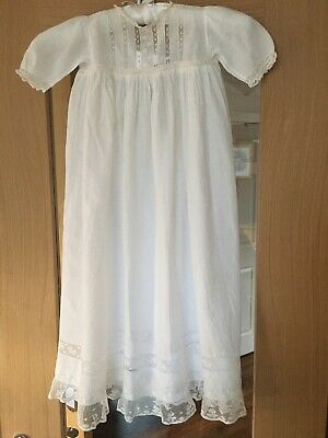 Victorian Hand Sewn Child's White Cotton Lace Dress Christening Gown Petticoat