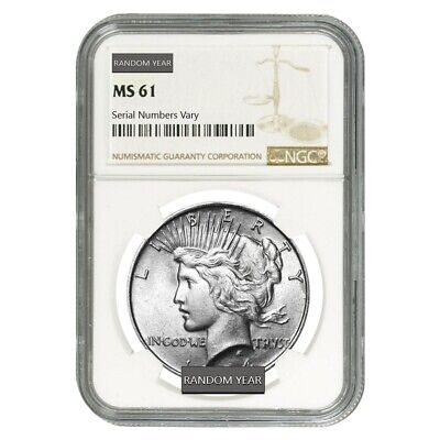 Peace Silver Dollar $1 NGC MS 61 (Random Year, 1922-1935)