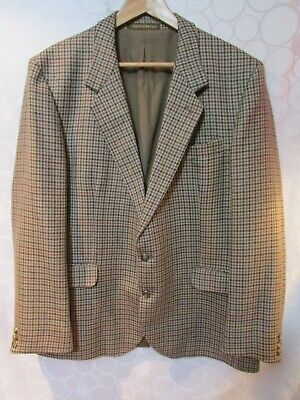 Vintage DUNN & CO. Great Britain Wool Brown Houndstooth Blazer Jacket 46""