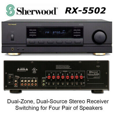 Sherwood 4-Channel, 100-Watt Multisource Dual-Zone A/V Stereo Receiver RX-5502