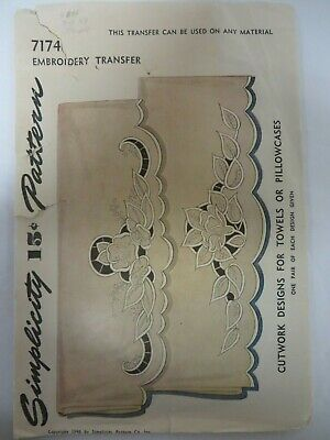 Vtg 40's Simplicity 7174 CUTWORK TOWELS PILLOWCASES Embroidery Transfer Pattern