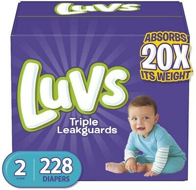 Diapers Size 2, 228 Count - Luvs Ultra Leakguards Disposable Baby Diapers, ONE M