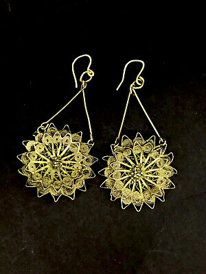 Antique Victorian Earrings Cannetille Gilt Filigree Gold 9Ct French Hooks C1900