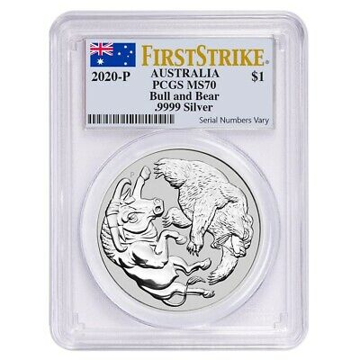 2020 1 oz Silver Australian Bull and Bear Coin Perth PCGS MS 70 First Strike