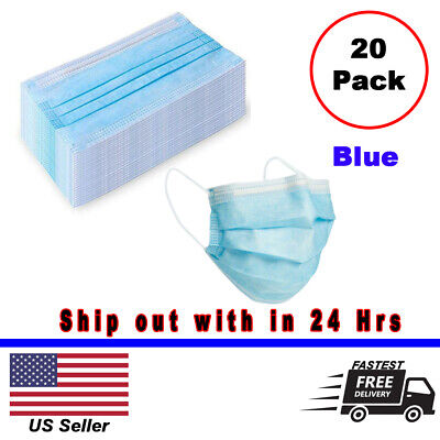 20pcs Disposable Medical Dental Industry Dust Proof Face Mask Respirator - Blue