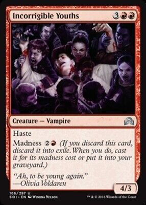 4 x INCORRIGIBLE YOUTHS NM mtg Shadows Over Innistrad Red Vampire Unc