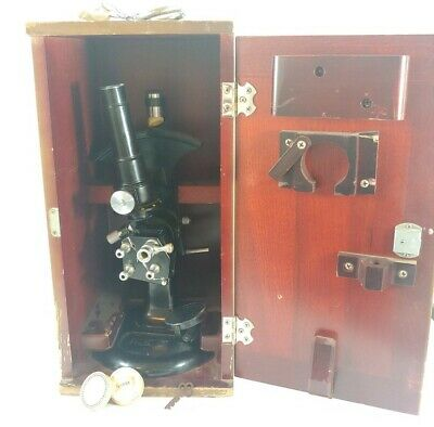 Antique Bausch & Lomb Abbe Refractometer Microscope w/Wooden Box Pat. # 2080841