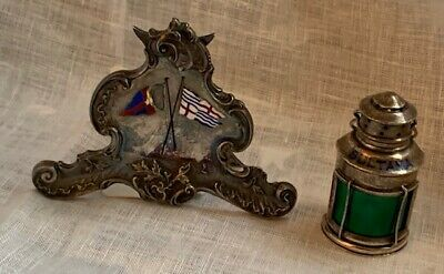 Antique French silver stand with enamel flags, 0.950 fine, with very nice raised
