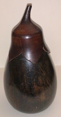 Antique 19th century wooden eggplant or gourd form cady with twist and pull off