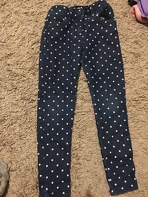 F&F Polka Dot Jeans, Dark Denim. Skinny Fit 6/7 Yrs