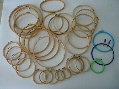 "Embroidery Hoop Lot (x32) Wooden and Plastic 3"" thru 12"" Screw Closure"