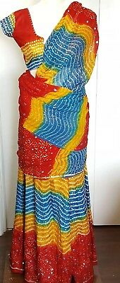 Indian Pakistani Ethnic 3 Piece Dress Sari Women's Beaded Sequins Costume