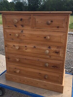 Antique Victorian Farmhouse Waxed Solid Pine Tall Boy Chest of 6 Drawers