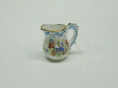 Dollhouse Miniatures 1:12 Scale White Porcelain Pitcher with Blue  #IM65487