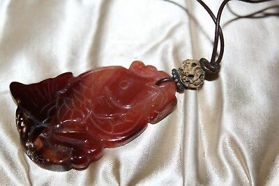 Vintage Chinese Export Carved Koi Fish Carneline Sterling Cord Necklace Fnc1