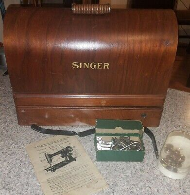 CHARMING Antique SINGER Sewing Machine MODEL 66 w/Leg Knee LEVER & Nice CASE!