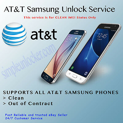 At&T Unlock Code Service For Samsung Galaxy S10 S9 S8 S7 S6 Note 10 10+ 9 8 A10