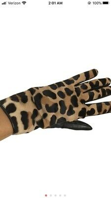 Bergdorf goodman Horsehair/Leather Gloves, New No Tags