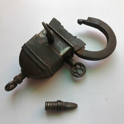 Old antique Iron padlock lock with 3 key trick puzzle MOST RARE COLLECTIBLE