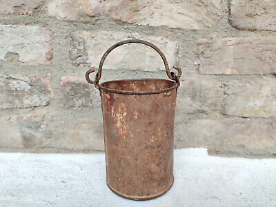Antique Handmade Primitive Rusted Iron Small Mud Bucket Collectable